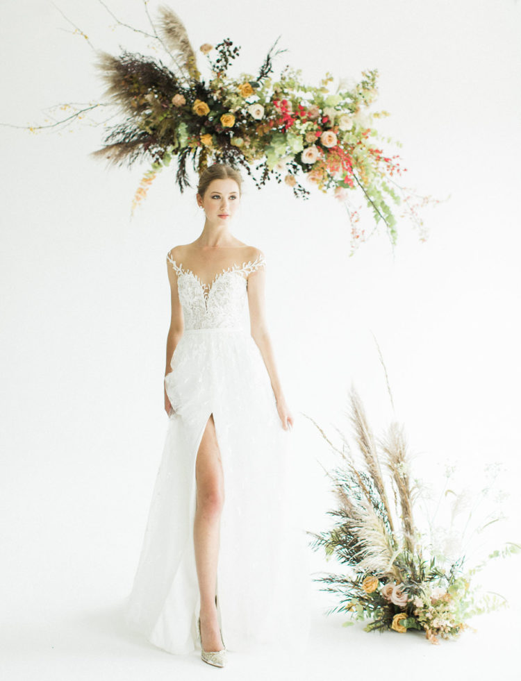 This gorgeous bridal shoot is full of fall vibes, ethereal beauty, shades and there are three gorgeous wedding dresses to die for