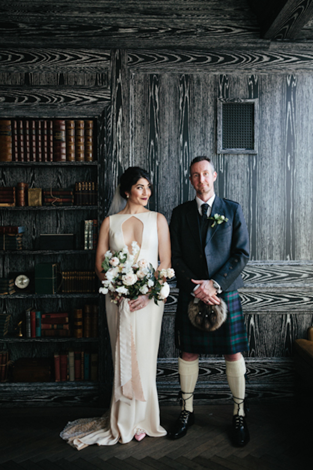 This gorgeous couple tied the knot in San Francisco though they gave a nod to groom's Scottish heritage and he wore a kilt