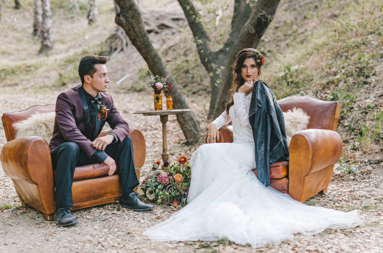 Edgy Boho Wedding Shoot With Butterflies And Botanicals