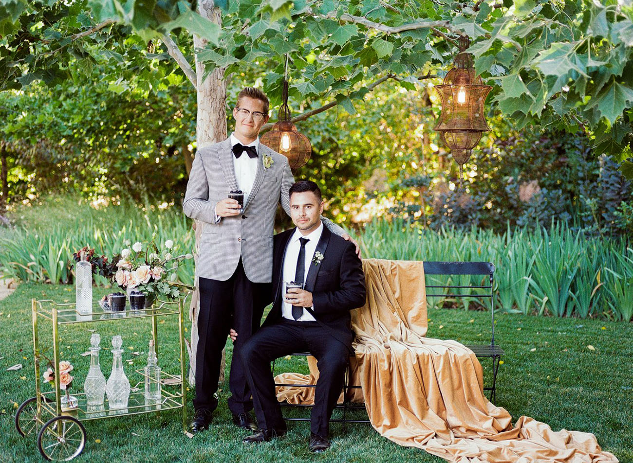 This moody luxe wedding shoot was styled with velvet, gorgeous desserts and various chic touches