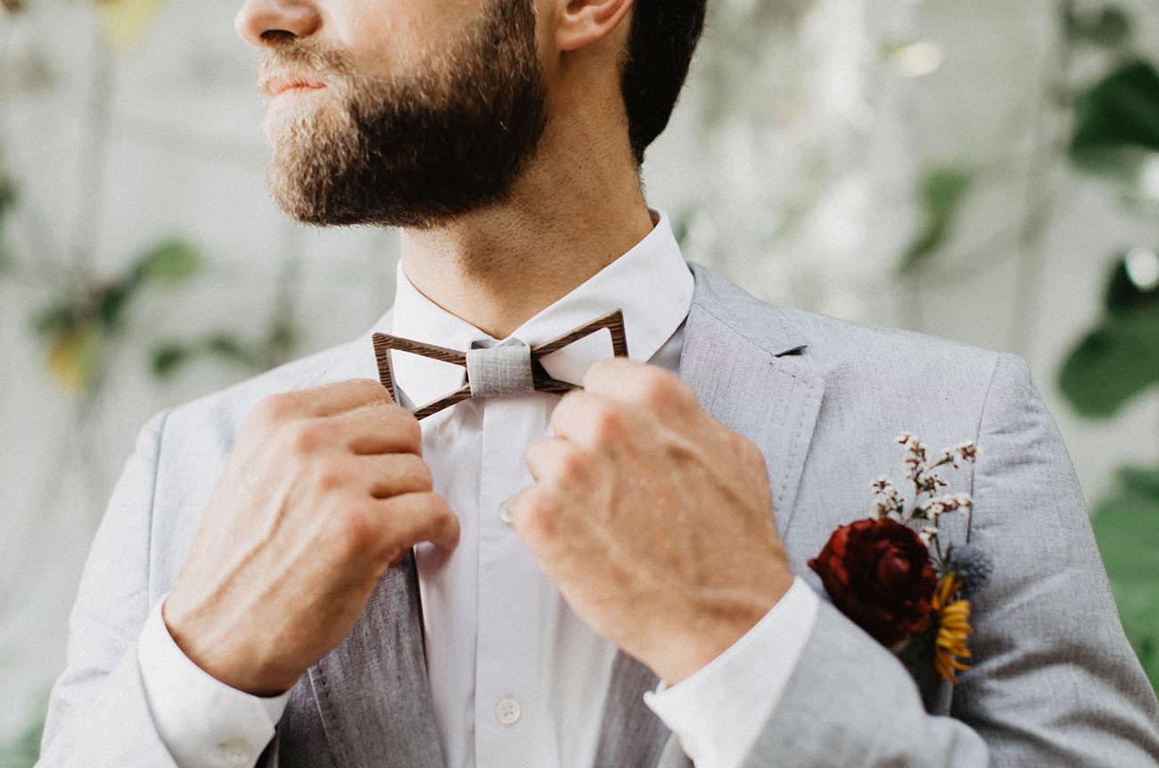 elegant groom's bow tie