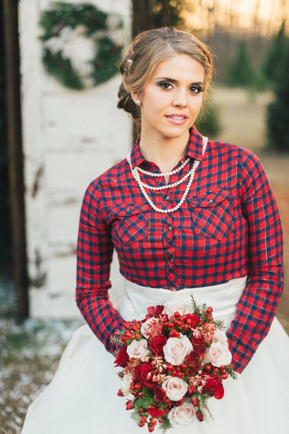 a plaid shirt over your dress can be another cool and unusual idea to cover up with a Christmas feel