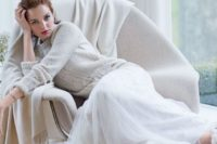 03 an off-white bridal sweater over a white wedding dress will give you a very soft and girlish look