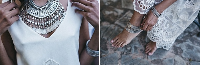 The bride was wearing boho jewelry - a statement gypsy-inspired necklace and some anklets