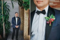 04 The groom was wearing a tuxedo with a navy jacket and black pants and moccasins