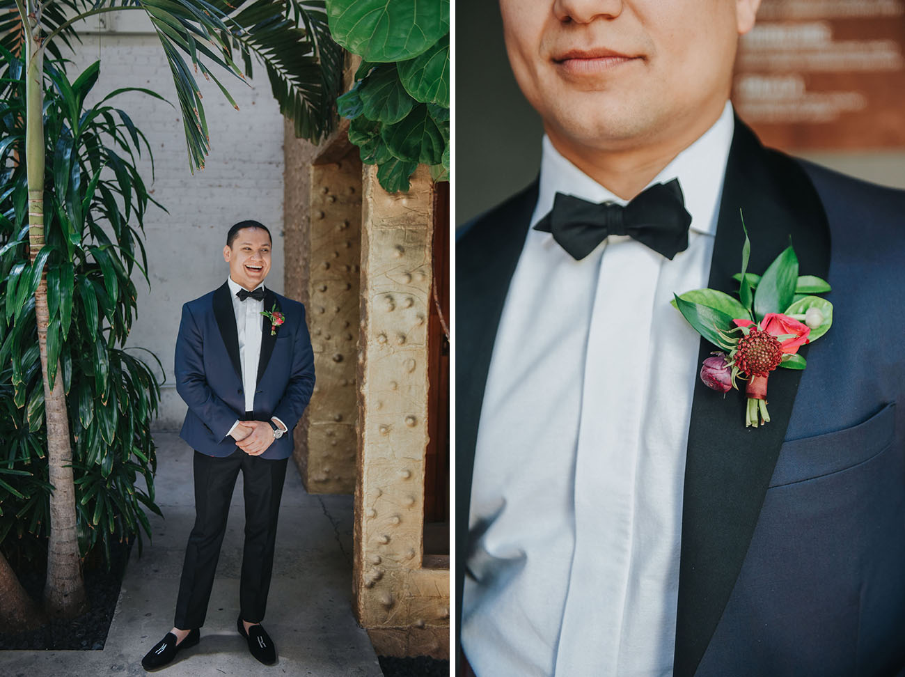 The groom was wearing a tuxedo with a navy jacket and black pants and moccasins