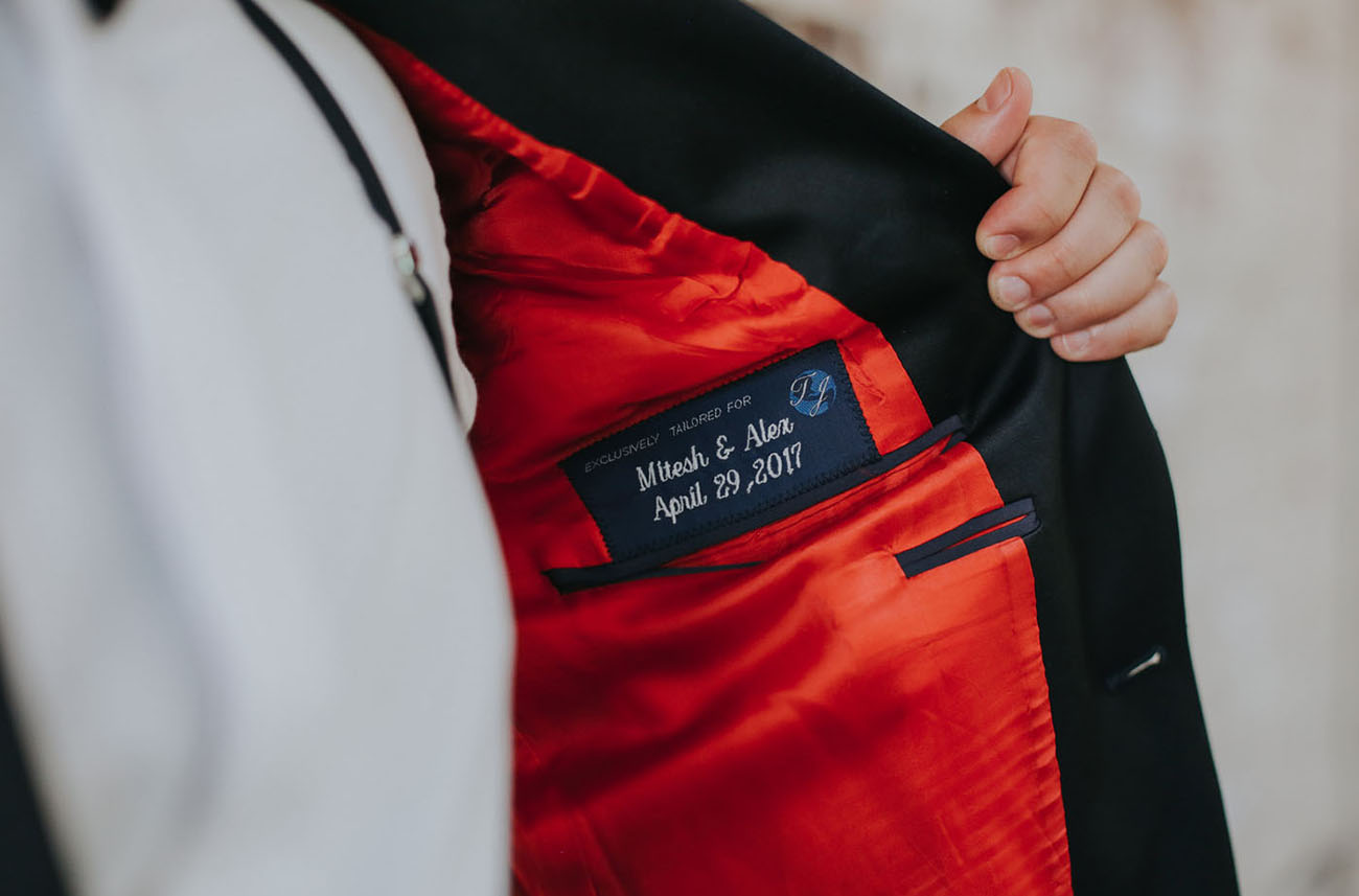 Look at this wedding date and names embroidered on the jacket   isn't that super cute