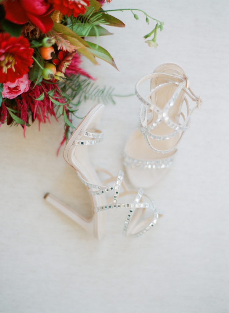 The wedding shoes were sparkling strappy high heels