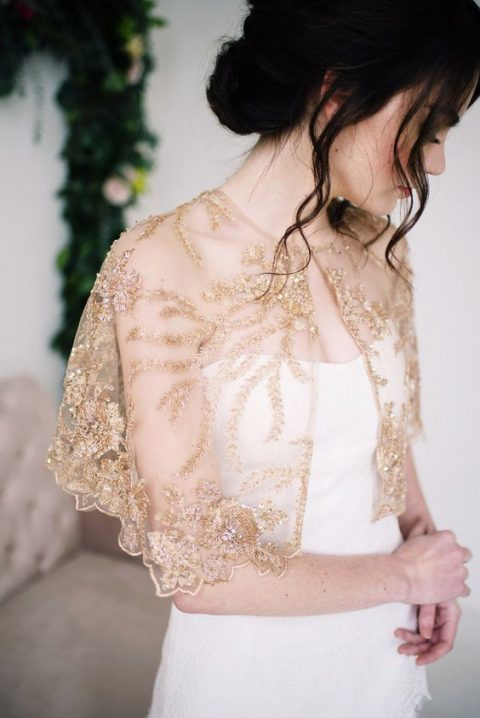 a golden beaded and embroidered capelet will make even the simplest dress stand out and will add a sparkly touch