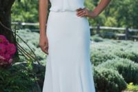 05 a sleek modern halter neckline wedding dress with straps and an accent on the waist – who needs more than that