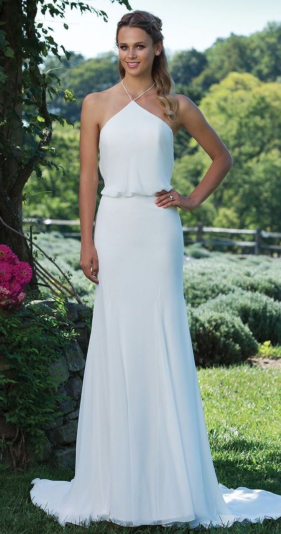 Picture Of a sleek modern halter neckline wedding dress with straps ...