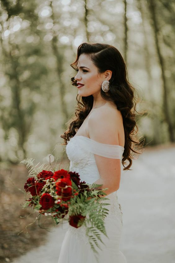 an off the shoulder dress, statement earrings and vintage waves are great for an Old Hollywood wedding