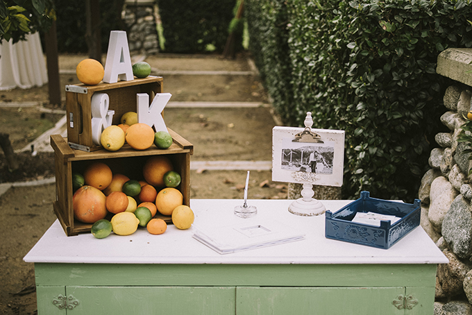 Citrus were chosen as the main wedding theme and the colors were coordinating
