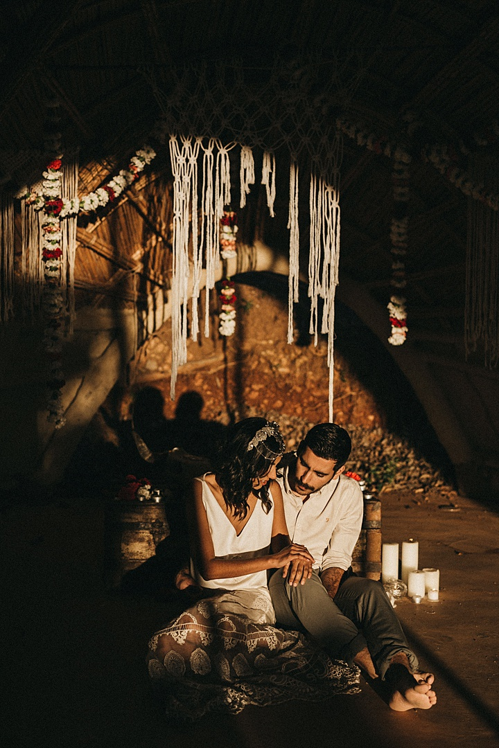The shoot took part in a clay dome, not a traditional yurt, which made it even more special and boho