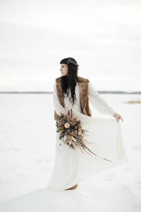 a simple boho look with a neutral vintage-inspired dress and a faux fur vest to feel warm