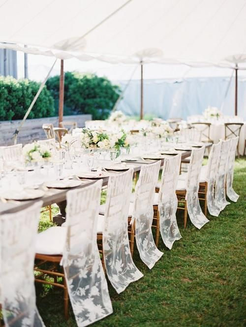 sheer lace chair covers for a modern garden wedding look chic and beautiful