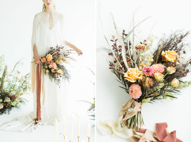 The wedding bouquet fully showed fall vibes, textures and colors