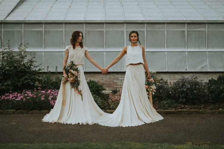 These are trendy bridal separates with crop tops, flowy skirts and a strong modern vibe