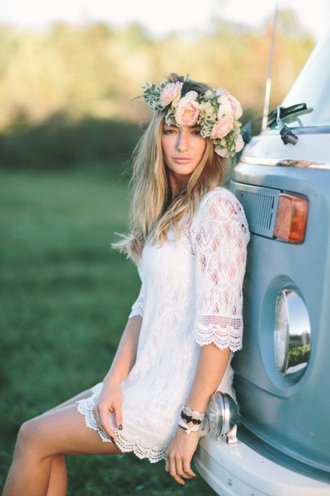 Picture Of A Boho Lace Wedding Gown With Half Sleeves Is A