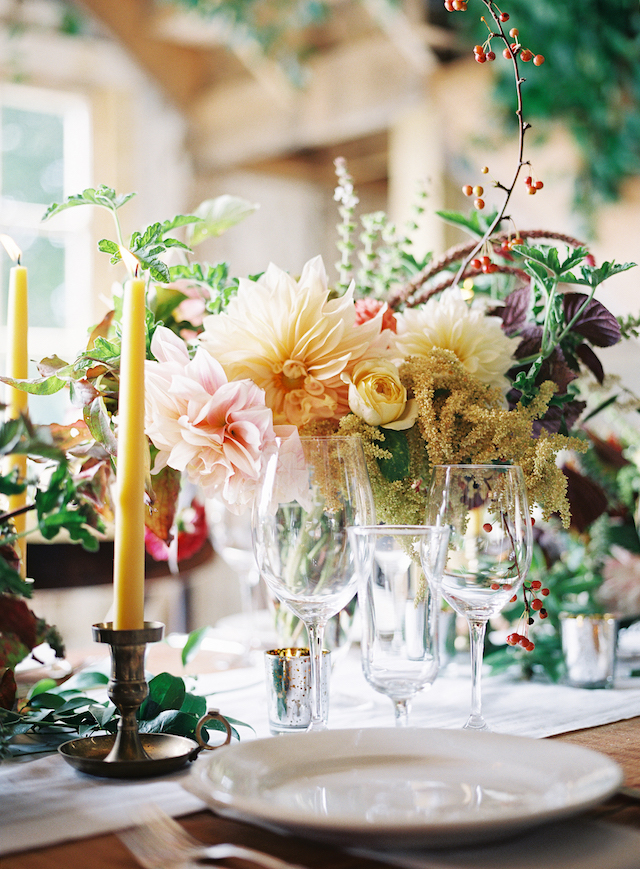 The flowers were from the bride's flower farm, and they were styled in a gorgeous way