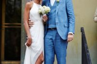 08 a chic draped halter neckline wedding dress with a slit, lace inserts and white peep toe shoes