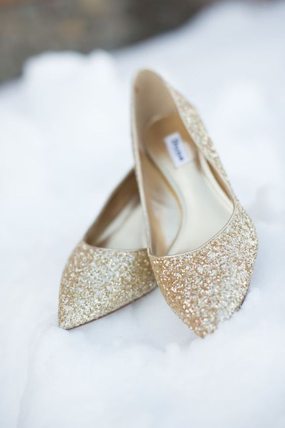 gold glitter flats for a winter bride who wants some sparkly touches