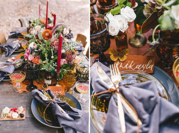 Orange, red, pink, white flowers and greenery created a cool and luxurious look