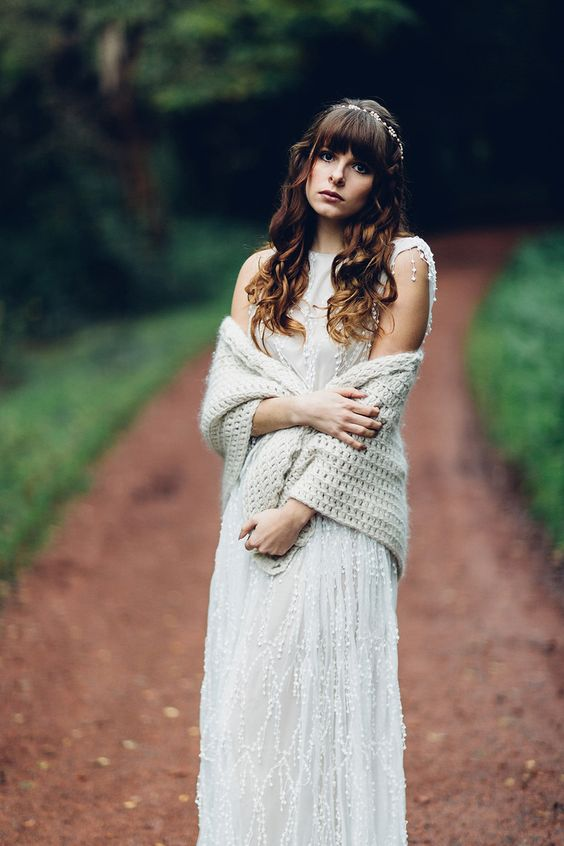 a dove grey knit coverup for a boho bride to feel warm outside