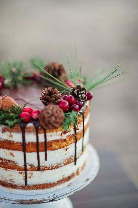 a naked wedding cake with chocolate drip, pinecones, cranberries, evergreens and nuts is ideal for a woodland wedding