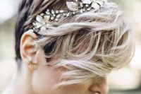 10 a pixie haircut with waves and a floral rhinestone headband looks wow and very feminine