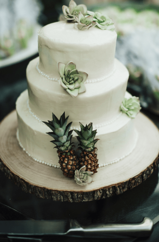 The wedding cake was a white one, with succulents and tiny pineapples