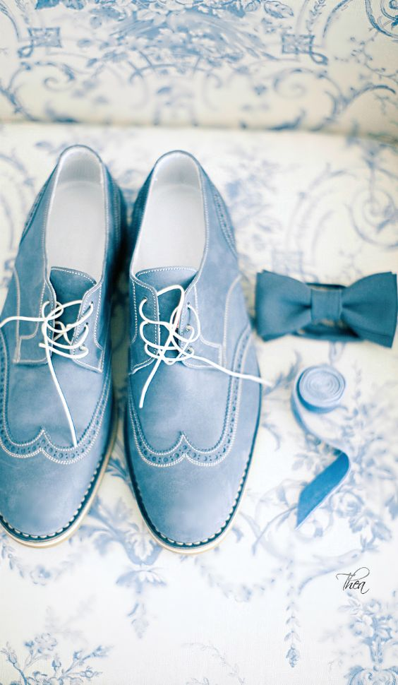 ice blue groom's shoes, a matching bow tie look very stylish