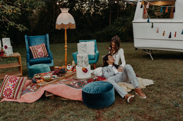 A picnic setting with blue velvet furniture