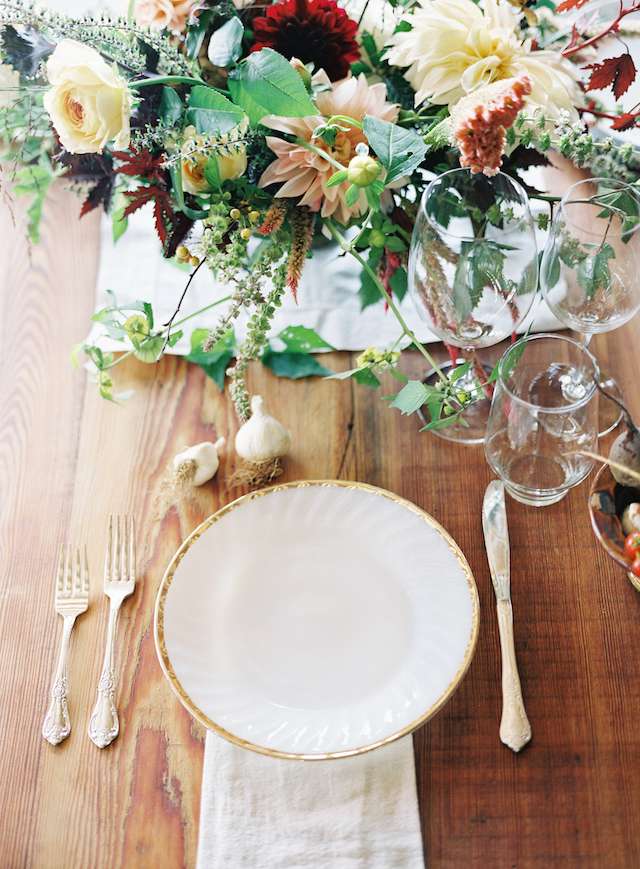 Vintage plates and cutlery added elegance to the table
