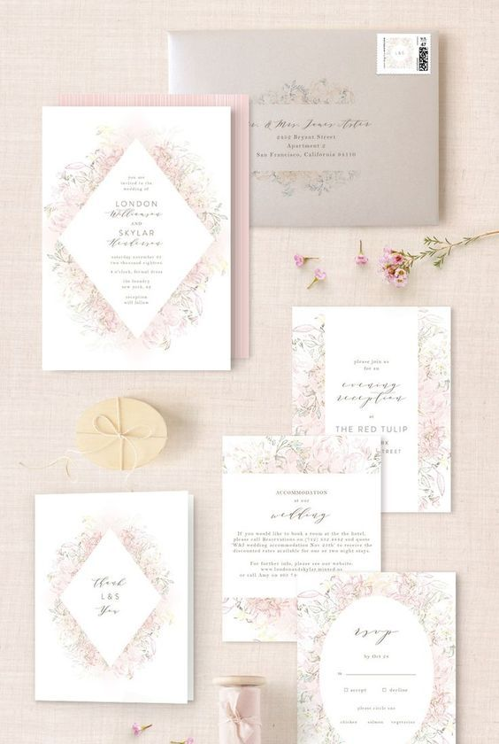 a blush wedding stationery suite with floral prints is ideal for a beautiful spring wedding