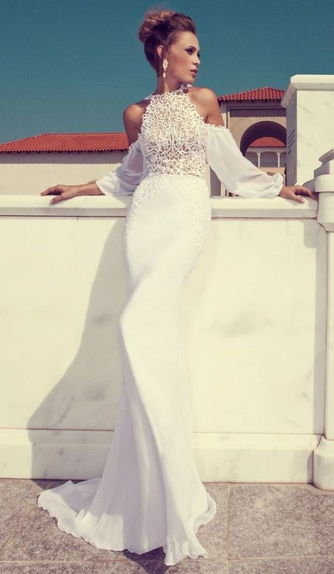 a gorgeous halter neckline mermaid wedding dress with a lace bodice, off the shoulder sleeves and a plain skirt