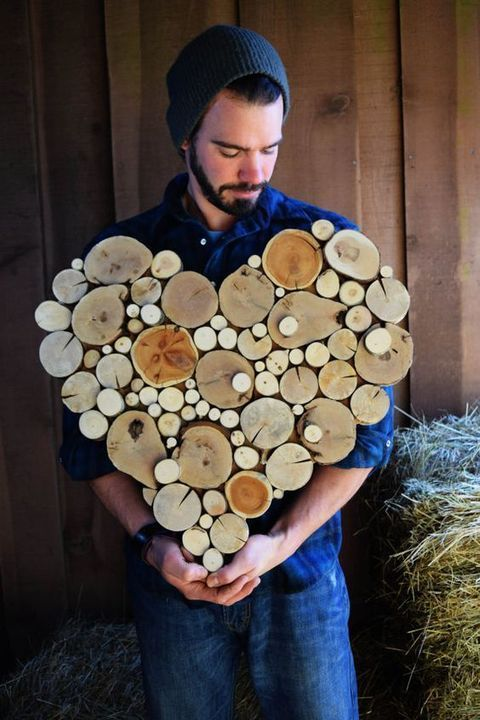 a wood slice heart would be a nice decoration for such a wedding because it's cute and rustic