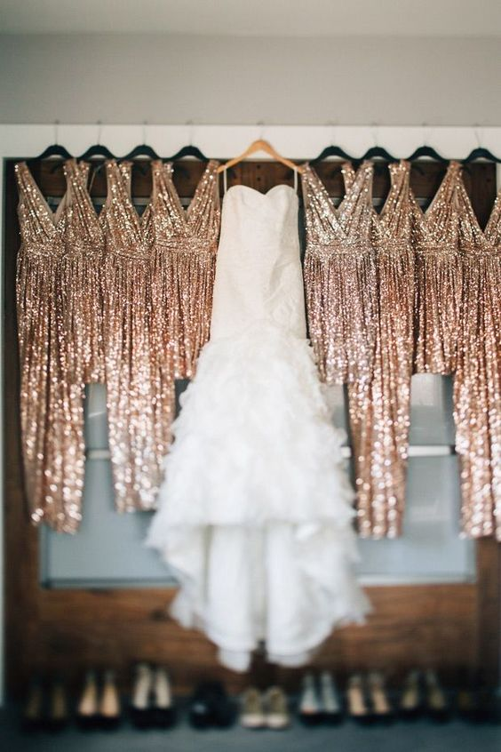 copper sequin draped sleeveless bridesmaids' gowns