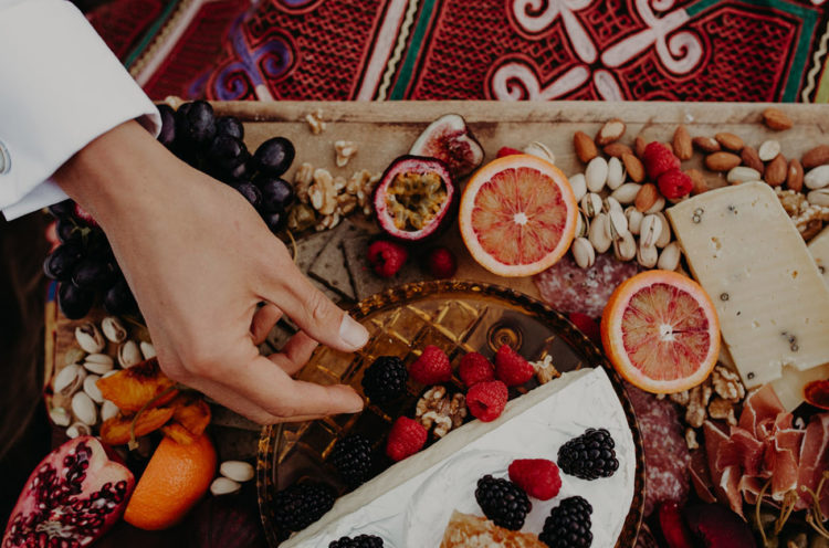 A lush boho appetizer platter