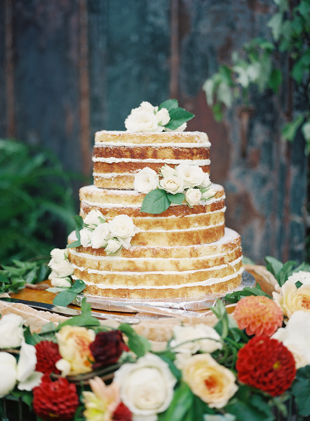 The wedding cake was a naked one with lemon frosting