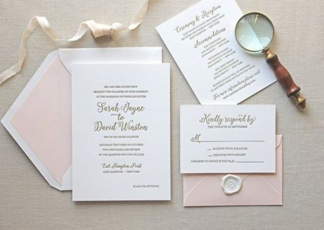 a pink and white wedding stationery suite with letterpressing is a great and tender idea
