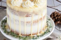 13 rum spiked eggnog cake with cream cheese frosting and white chocolate ganache looks unusual