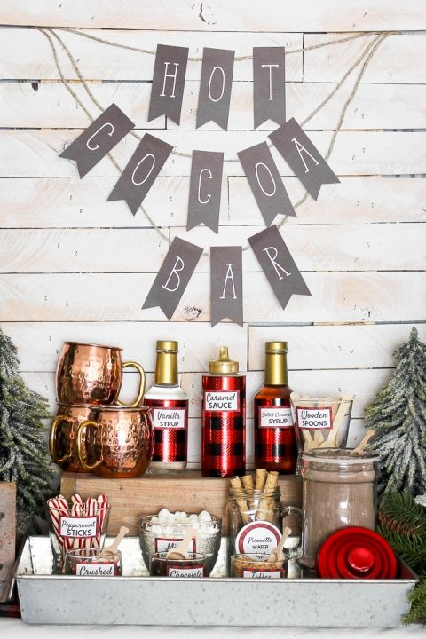 sometimes all you need is plaid thermoses, copper mugs and some banners for a cool winter bar