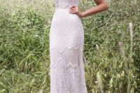 14 a halter neckline textural sheath lace wedding dress with straps for a boho bride