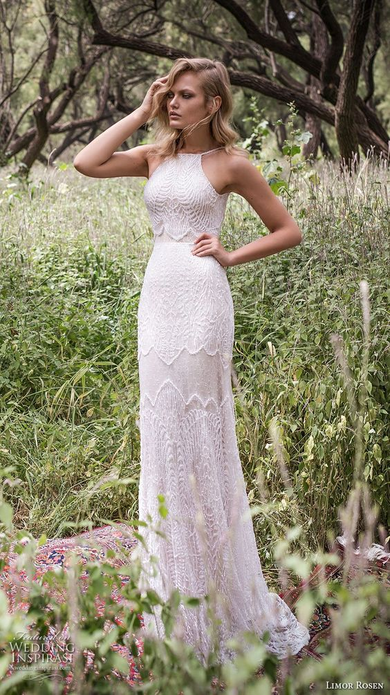 a halter neckline textural sheath lace wedding dress with straps for a boho bride