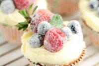 14 frosted berry cupcakes with an orange mascarpone buttercream feature a fluffy orange cake topped with a luscious frosting, and sugared fruit