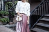 15 a white pearled sweater, a pink velvet pleated skirt, nude pumps for a cute girlish look