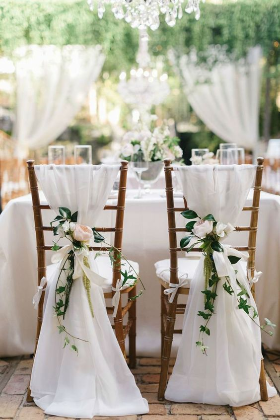 Picture Of Airy White Fabric Greenery And Blush Blooms For