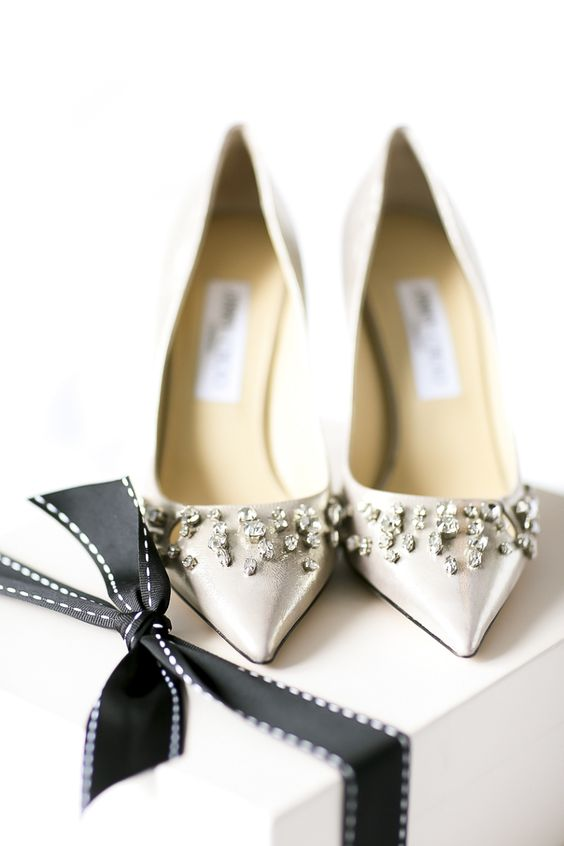 glam embellished wedding shoes are right what a winter glam bride needs