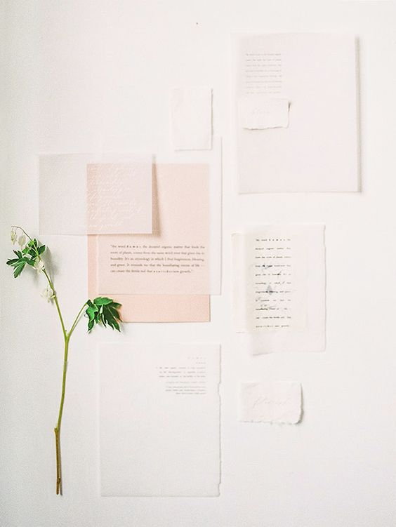 modern pastel pink and white wedding stationery set with sheer parts for a odern spring wedding
